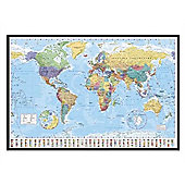 World Map Gloss Black Framed World Map with Flags Poster