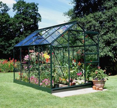 Halls 6x8 Popular Greenframe Greenhouse + Green Base-frame - Horticultural Glass