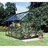 Halls 6x8 Popular Greenframe Greenhouse + Green Base-frame - Horticultural Glass