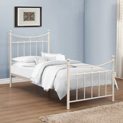 Happy Beds Emily Metal High Foot End Bed with Open Coil Spring Mattress - Cream - 3ft Single