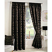 Curtina Crompton Black Lined Curtains - 66x90 Inches (168x229cm)