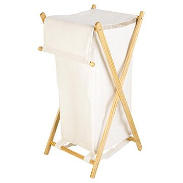 Wooden Frame Fabric Laundry Bin Natural