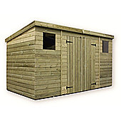 Large Pressure Treated T&G Pent Shed + Double Doors Centre + 2 Windows