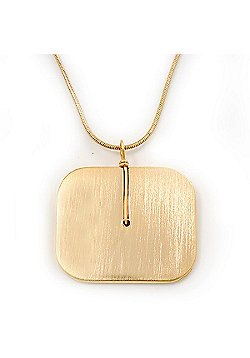 Brushed Gold Square Pendant On Snake Chain - 38cm Length/ 5cm Extension