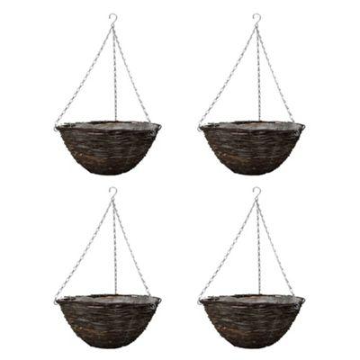 4 x Traditional 14in Round Ratten Wicker Garden Hanging Basket