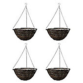 4 x Traditional 14in Round Ratten Wicker Garden Hanging Basket