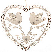 Metal Hanging Heart Decoration With 2 Doves / Love Birds - White / Cream