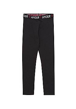 F&F Amour Slogan Waistband Leggings with As New Technology - Black