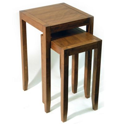 Techstyle Solid Wood Nest of Two Tables - Walnut