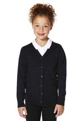 F&F School Girls Ribbed Cardigan with As New Technology 5-6 years Navy