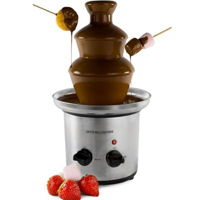 Andrew James Chocolate Fountain - 3 Tier with Melting Bowl - 170W - Chrome
