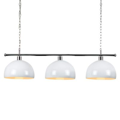 Modern Suspended 3 Way Ceiling Light & White/Green Domed Shades