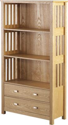 Home Essence Whitby Two Drawer High Bookcase in Ash Veneer