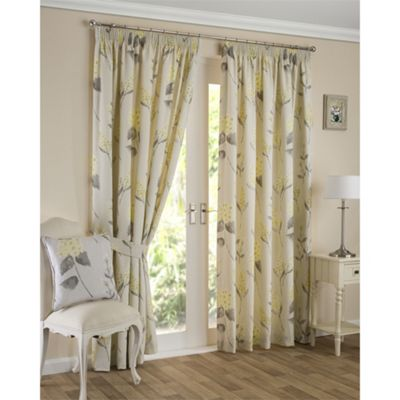 Florence Pencil Pleat Ochre Lined Curtains - 66x54 Inches (168x137cm)