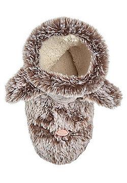 F&F Faux Fur Bunny Bootie Slippers - Mink