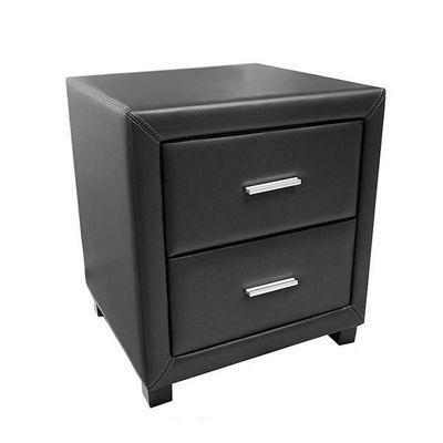 Dorset 2 Drawer Black Faux Leather Bedside Table