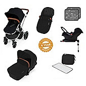 Ickle Bubba Stomp V3 AIO Travel System with 2 x Isofix Base + Mosquito Net Black (Silver Chassis)