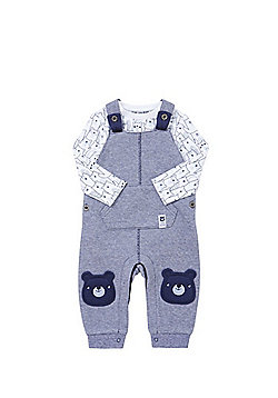 F&F Bear Appliqué Jersey Dungarees and Bodysuit Set - Blue