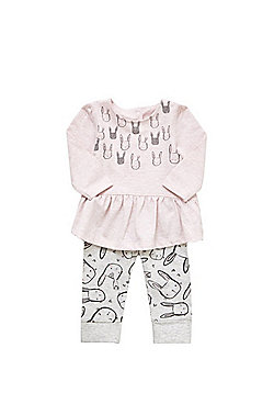 F&F Bunny Peplum Top and Leggings Set - Pink