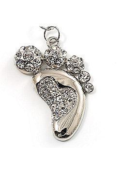 Funky Crystal Foot Key Ring/ Bag Charm (Silver Tone)