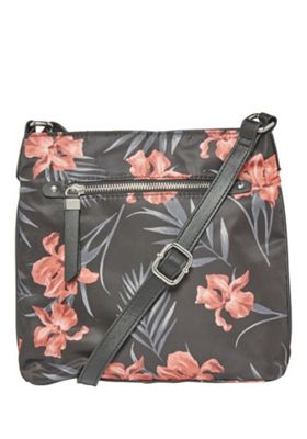 F&F Tropical Print Passport Cross-Body Bag Black One Size