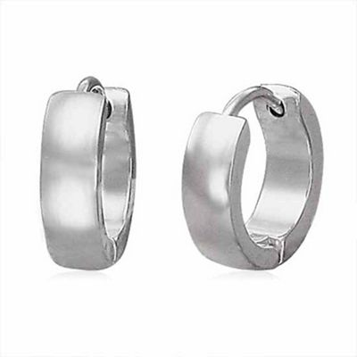Urban Male Plain Stainless Steel Men's Hinged Hoop Earrings
