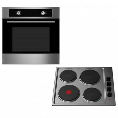 Oven & Hob Pack COS600SS SEP600SS | Cookology 60cm Built-in Electric Static Oven & Solid Plate Hob Pack in Stainless Steel