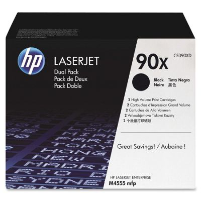 HP 90X Black Toner Cartridges (Yield 24000 Pages) Dual Pack for LaserJet Enterprise Printers