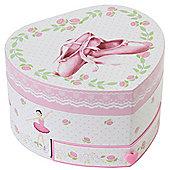 Musical Heart Shape Ballerina Shoes Jewellery Box