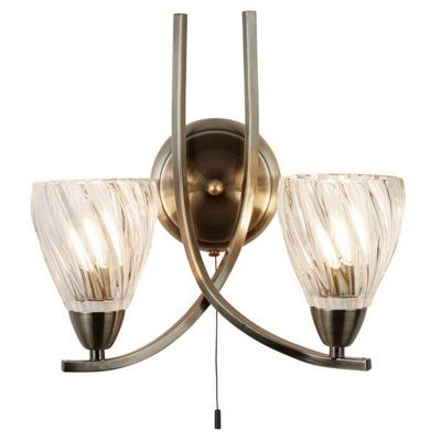 ASCONA II - 2 LIGHT WALL BRACKET, ANTIQUE BRASS TWIST FRAME, CLEAR TWISTED GLASS SHADES