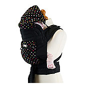 Mei Tai Baby Carrier with Hood & Pocket - Black With Small Polka Dots