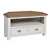 Corsica Corner Oak TV Stand / Grey Painted Oak TV Unit