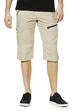 F&F 3/4 Length Shorts with Belt - Stone