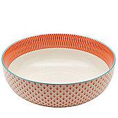 Large Patterned Fruit / Salad Bowl - Coral / Orange & Blue Aztec Design - 284mm