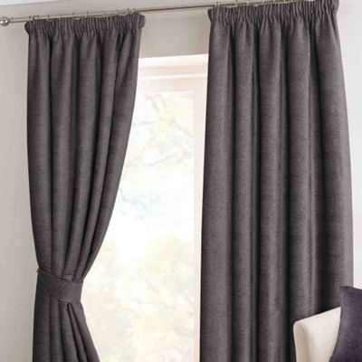 Homescapes Pewter Chenille Pencil Pleat Lined Curtain Pair, 66 x 54