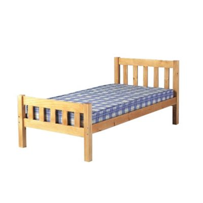 Comfy Living 3ft Single Farmhouse Style Wooden Bed Frame in Caramel with Damask Memory Mattress