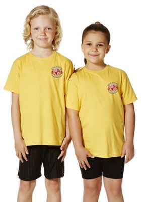 Unisex Embroidered School T-Shirt 7-8 years Yellow gold