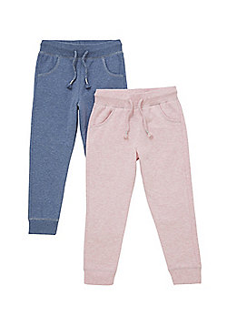F&F 2 Pack of Drawstring Joggers - Blue & Pink