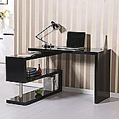 Homcom High Gloss Computer Pc Desk -Black