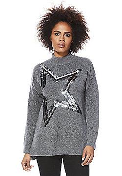 F&F Sequinned Star Jumper - Grey