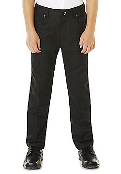 F&F School Boys 5 Pocket Reinforced Knee Trousers - Dark grey
