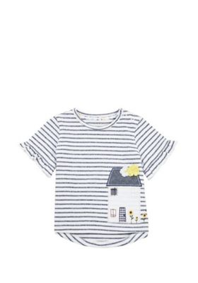 F&F House Applique Frill Sleeve T-Shirt Multi 0-1 months