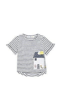 F&F House Applique Frill Sleeve T-Shirt - Multi