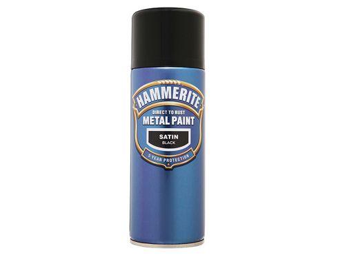 Hammerite Direct to Rust Smooth Finish Aerosol Satin Black 400ml