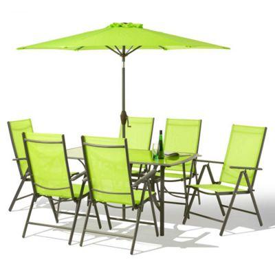 8 Piece Santorini Garden Patio Set   100% Aluminium NON RUST FRAME   Green
