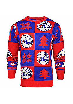 NBA Basketball Philadelphia 76ers Patches Crew Neck Sweater - Blue & Red