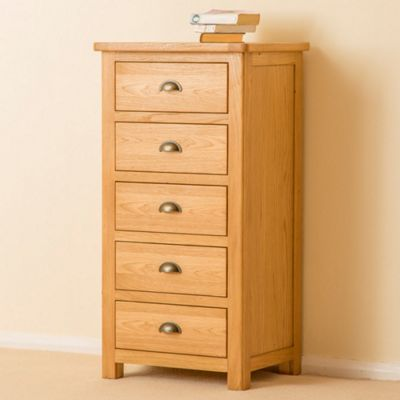 Roseland Oak 5 Drawer Tallboy