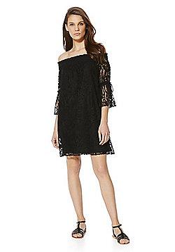 F&F Lace Bardot Dress - Black