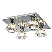 Modern Chrome Semi Flush Ceiling Light with Crystal Shades