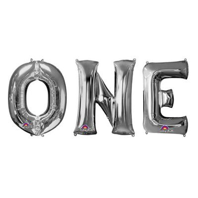 ONE' Silver Foil Balloon Kit - 34 inch
